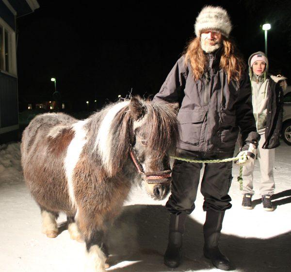 Ridning på den sötaste shetlandsponnyn i hela Norrbotten